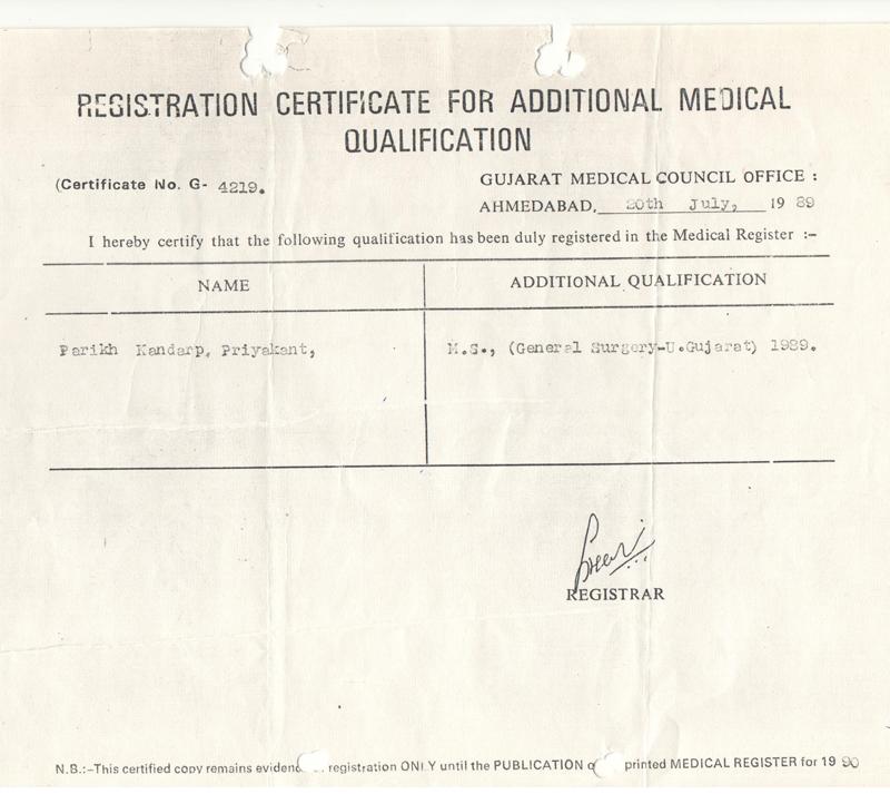 Medical Certificates Drkandarp Parikh